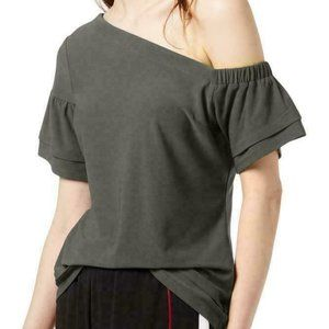 Bar III Asymmetric One Shoulder Tiered Blouse top